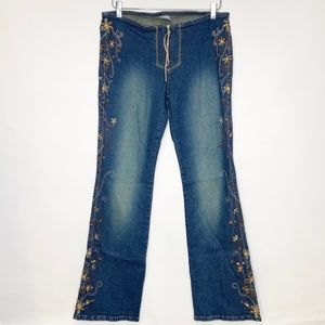 Z. Cavaricci Embroidered Bootcut Jeans Size 11